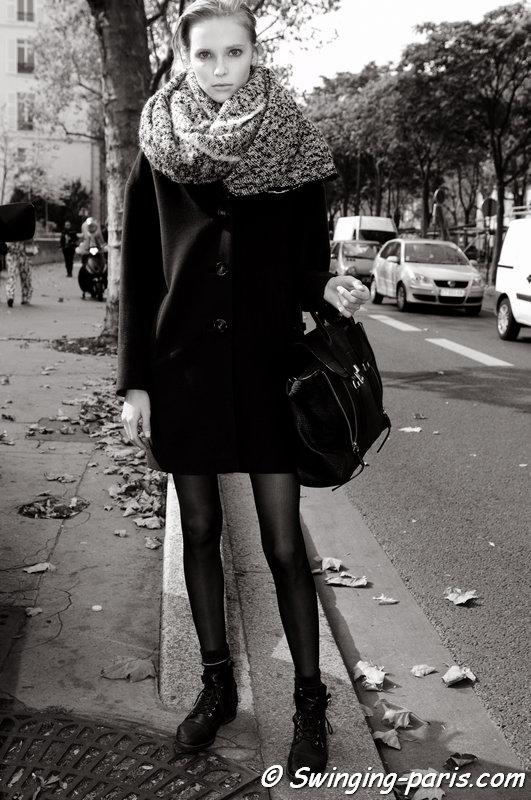 Nastya Zhidkikh (Анастасия Жидких) leaving Damir Doma show, Paris S/S 2015 RtW Fashion Week, September 2014