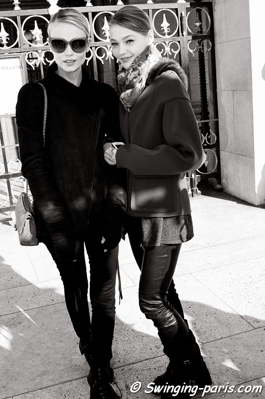 Natasha Poly and Sasha Pivovarova leaving Stella McCartney show, Paris Fashion Week, March 2011