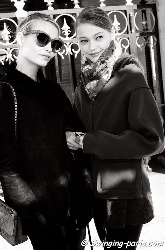 Natasha Poly and Sasha Pivovarova leaving Stella McCartney show, Paris Fashion Week, March 2011