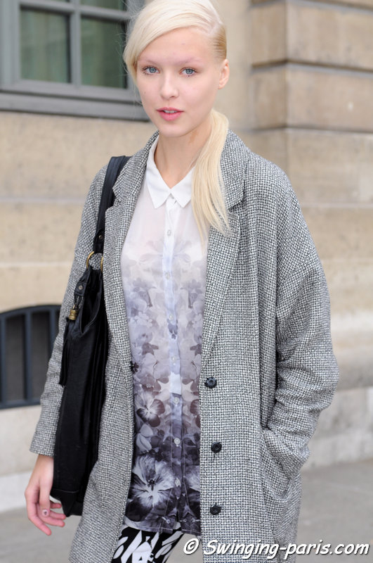 Natasha Remarchuk leaving Jean-Charles de Castelbajac show, Paris S/S 2014 RtW Fashion Week, October 2013