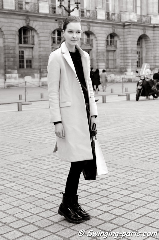 Nicole Keimig outside Jean-Charles de Castelbajac show, Paris F/W 2014 RtW Fashion Week, March 2014