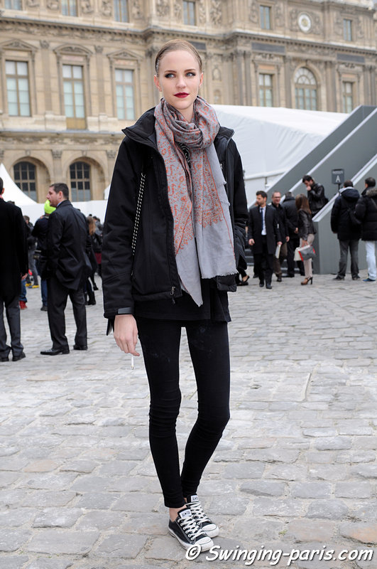 Nicole Pollard leaving Louis Vuitton show, Paris F/W 2013 RtW Fashion Week, March 2013