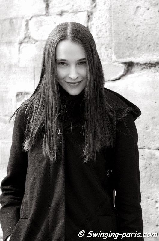 Olga Pashevski outside Issey Miyake show, Paris F/W 2014 RtW Fashion Week, February 2014