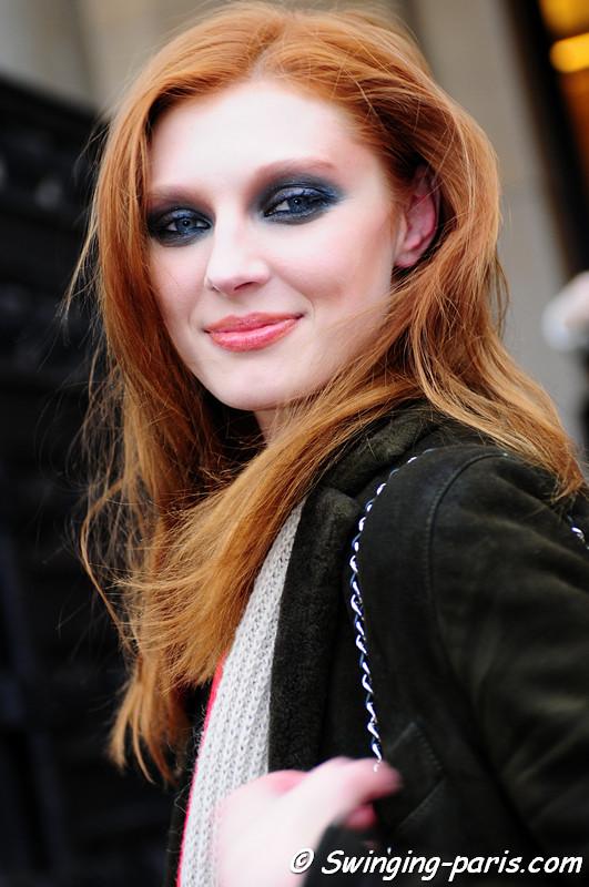 Olga Sherer outside Stéphane Rolland show, Paris Fashion Week, January 2011
