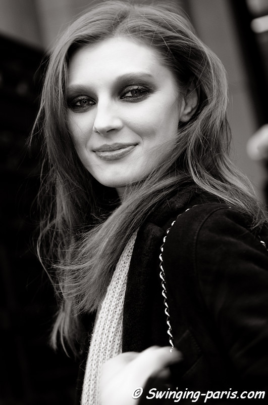 Olga Sherer outside Stphane Rolland show, Paris Fashion Week, January 2011
