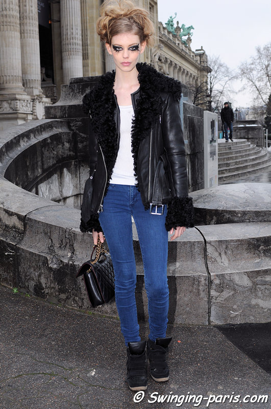 Ondria Hardin leaving Chanel show, Paris Haute Couture S/S 2013 Fashion Week, January 2013
