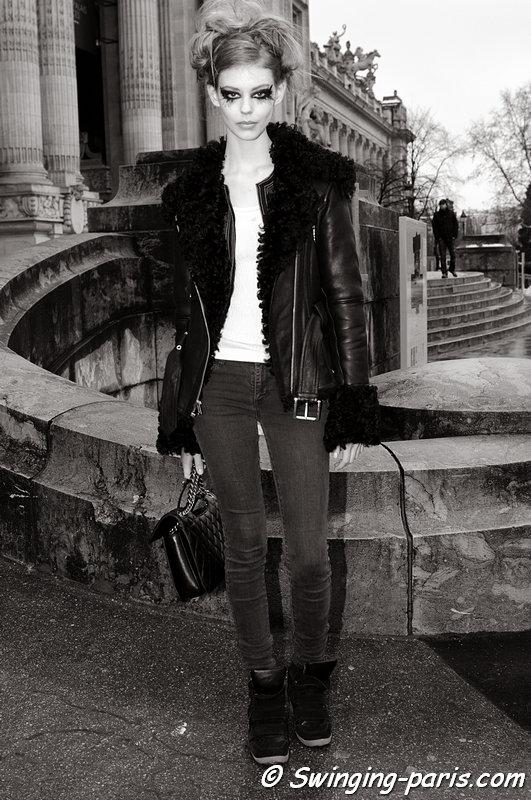 Ondria Hardin leaving Chanel show, Paris Haute Couture S/S 2013 Fashion Week, January 2013