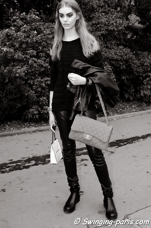 Ondria Hardin leaving Chanel show, Paris S/S 2014 RtW Fashion Week, October 2013