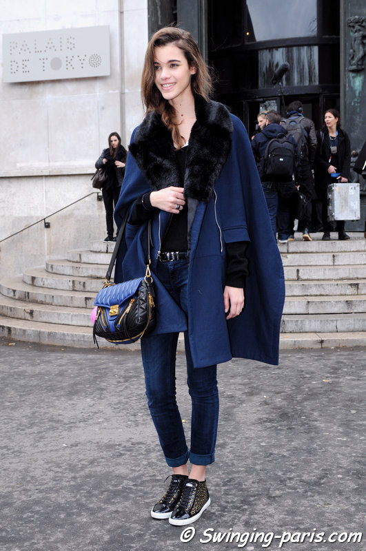 Pauline Hoarau leaving Léonard show, Paris F/W 2014 RtW Fashion Week, March 2014