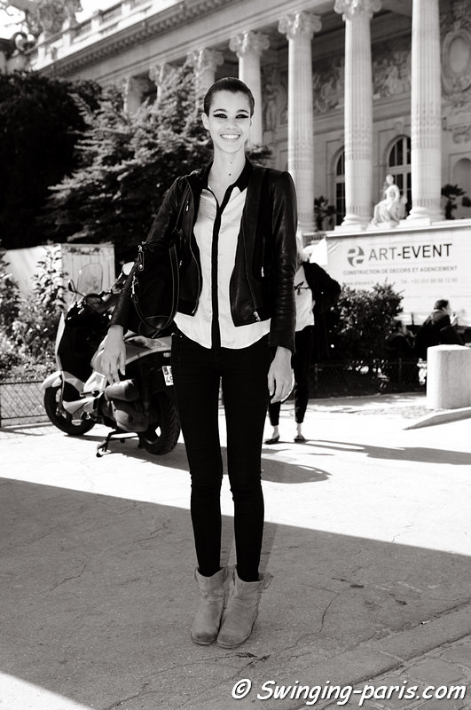Pauline Hoarau leaving Léonard show, Paris S/S 2013 RtW Fashion Week, October 2012