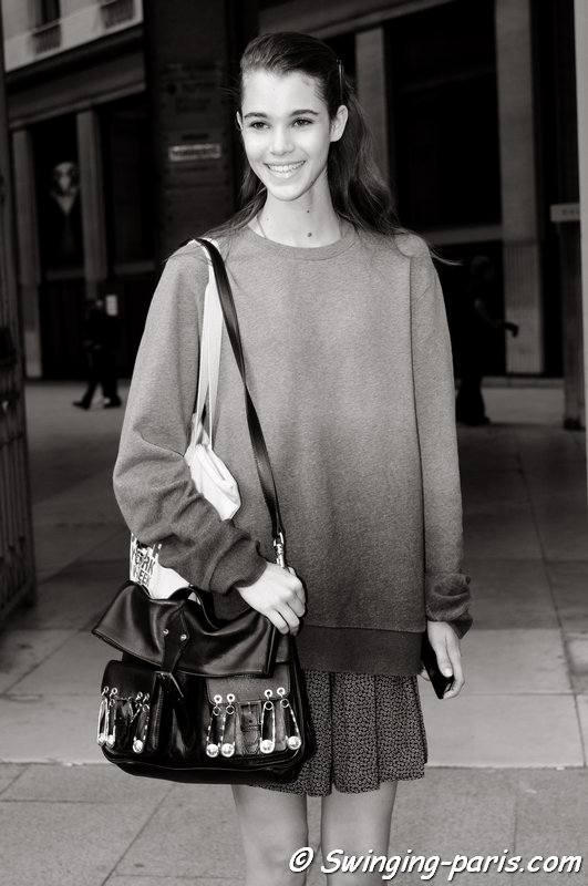 Pauline Hoarau leaving Roland Mouret show, Paris S/S 2014 RtW Fashion Week, September 2013