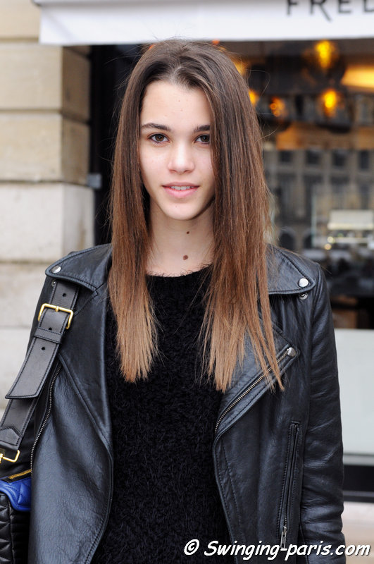 Pauline Hoarau leaving Roland Mouret show, Paris F/W 2014 RtW Fashion Week, February 2014