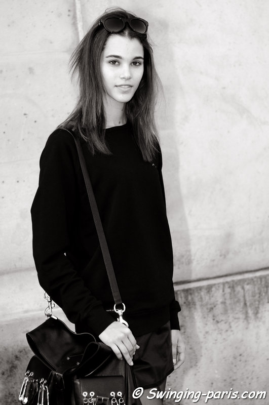 Pauline Hoarau leaving Chalayan show, Paris S/S 2015 RtW Fashion Week, September 2014