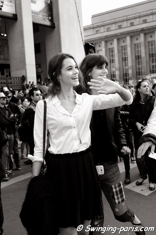 Pauline Hoarau and Antonina Petkovic leaving Giorgio Armani Privé show, Paris Haute Couture F/W 2014 Fashion Week, July 2014