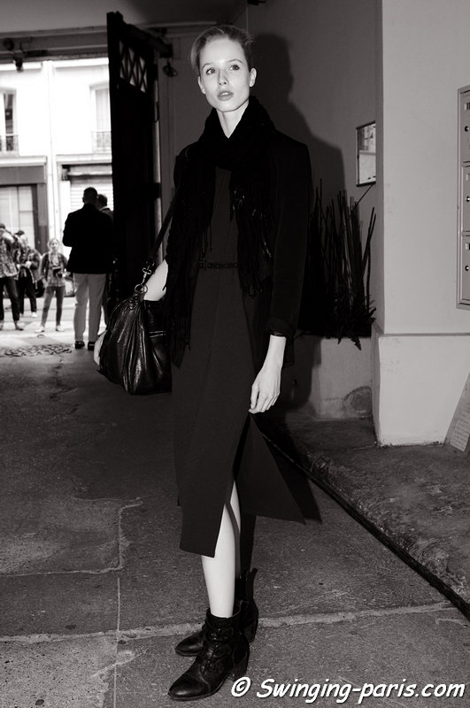 Quirine Engel outside Maison Martin Margiela show, Paris Haute Couture F/W 2013 Fashion Week, July 2013