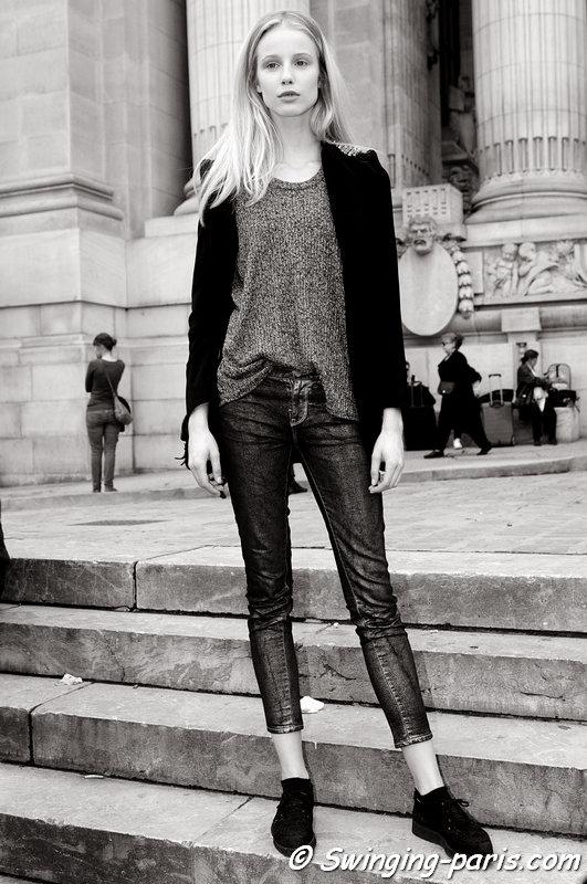 Quirine Engel outside Léonard show, Paris S/S 2014 RtW Fashion Week, September 2013