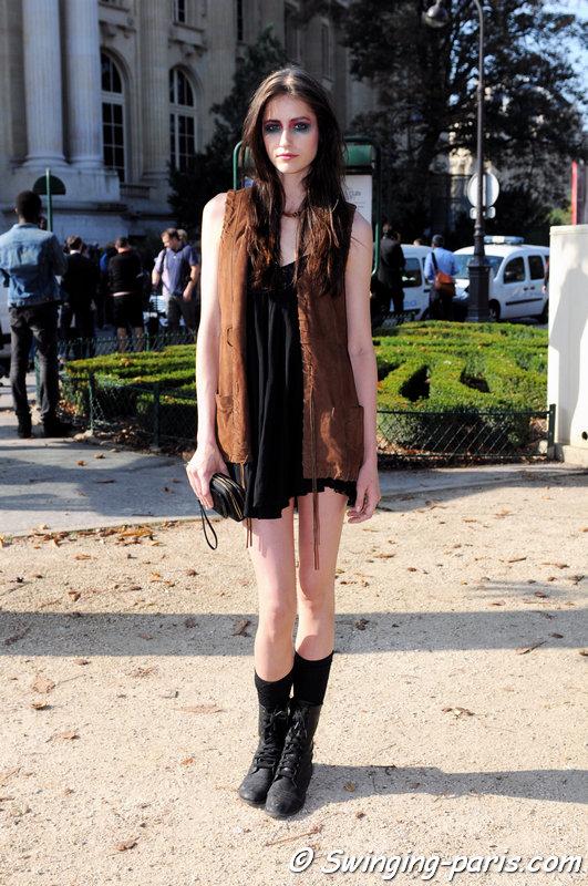 Rachael Robinson leaving Chanel show, Paris S/S 2015 RtW Fashion Week, September 2014