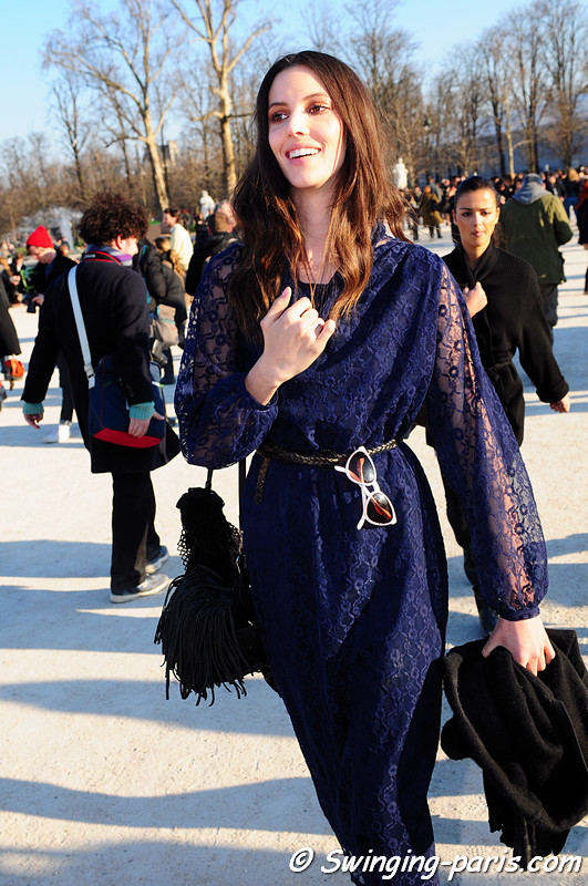 Ruby Aldridge leaving Chloé show, Paris Fashion Week, March 2011