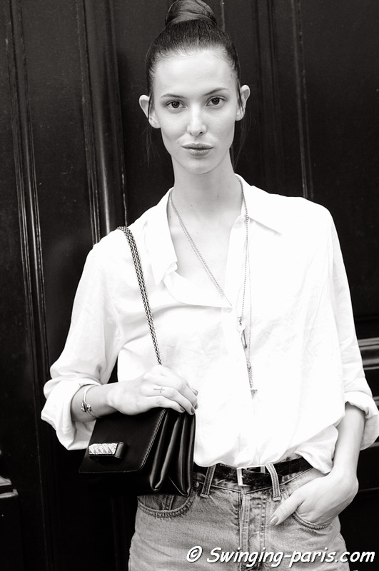 Ruby Aldridge outside Valentino show, Paris Haute Couture F/W 2012 Fashion Week, July 2012
