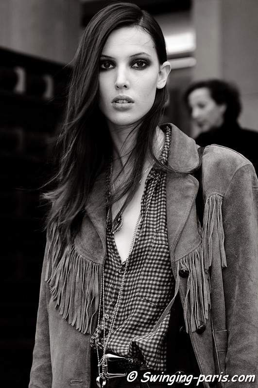 Ruby Aldridge exiting Stéphane Rolland show, Paris Fashion Week S/S 2011 Couture