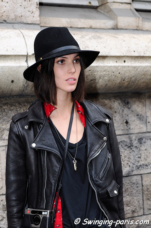 Ruby Aldridge outside Felipe Oliveira Baptista show, Paris S/S 2013 RtW Fashion Week, September 2012