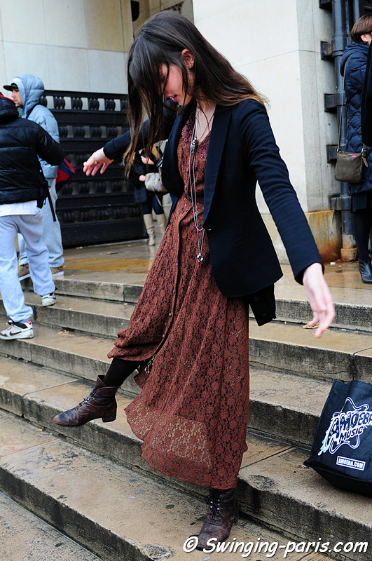 Ruby Aldridge leaving Elie Saab Show, Paris Fashion Week, January 2011