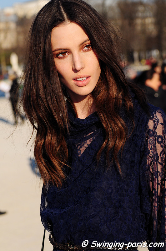 Ruby Aldridge (NEXT) leaving Chloé show, Paris Fashion Week, March 2011