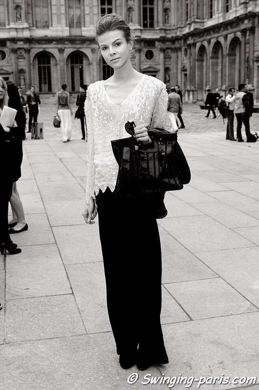 Ruby-Jean Wilson leaving Louis Vuitton show, Paris S/S 2012 Fashion Week, September 2011