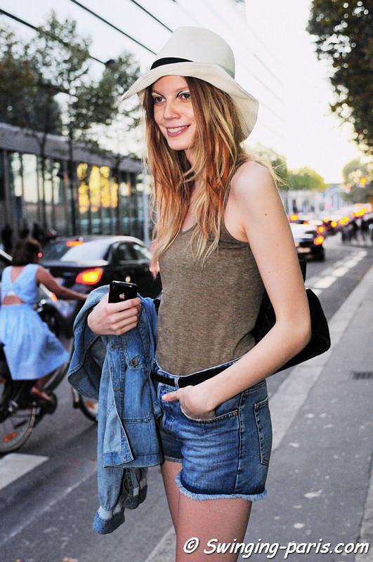 Saara Sihvonen after Commuun show, Paris S/S 2012 Fashion Week, September 2011
