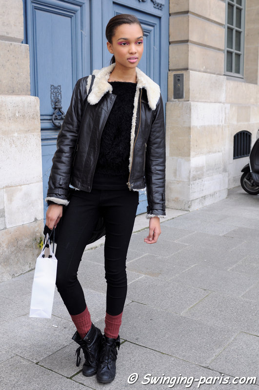 Samantha Archibald outside Jean-Charles de Castelbajac show, Paris F/W 2014 RtW Fashion Week, March 2014