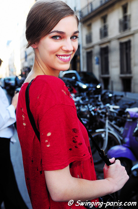 Samantha Gradoville outside Valentin Yudashkin show, Paris S/S 2012 Fashion Week, October 2011