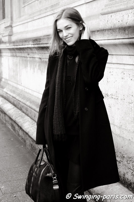 Samantha Gradoville exiting Chalayan show, Paris F/W 2014 RtW Fashion Week, February 2014