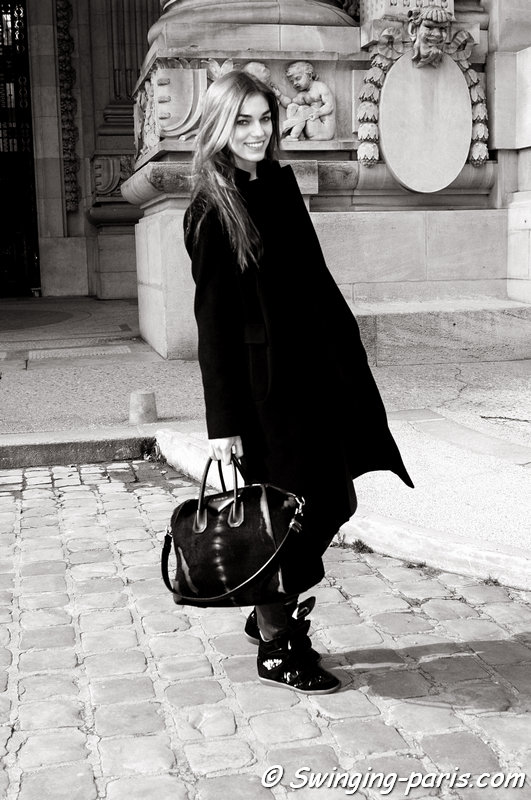 Samantha Gradoville exiting Guy Laroche show, Paris F/W 2014 RtW Fashion Week, February 2014
