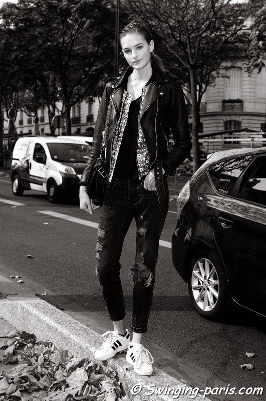 Sanne Vloet leaving Damir Doma show, Paris S/S 2015 RtW Fashion Week, September 2014