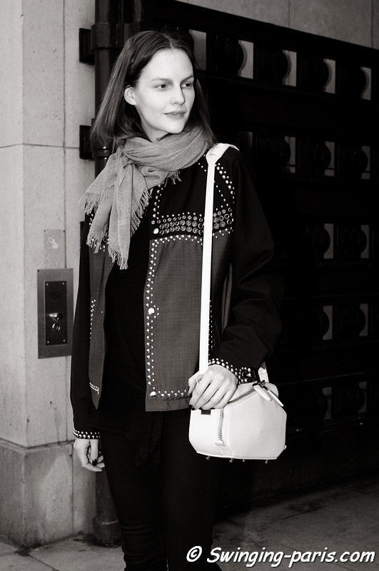 Sara Blomqvist exiting Ann Demeulemeester show, Paris F/W RtW 2012 Fashion Week, March 2012