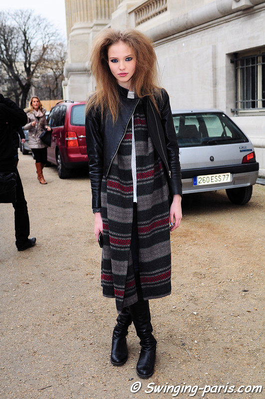 Sasha Luss (Саша Лусс) leaving Chanel show, Paris Haute Couture S/S 2012 Fashion Week, January 2012