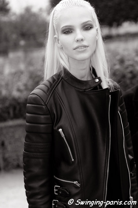 Sasha Luss (Саша Лусс) leaving Elie Saab show, Paris S/S 2014 RtW Fashion Week, September 2013