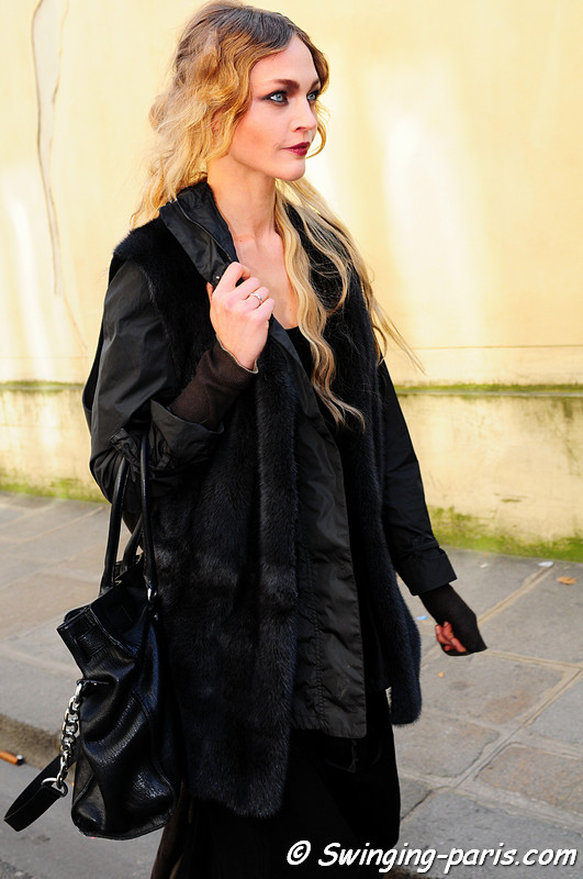 Sasha Pivovarova ( ) leaving Christian Dior show, Paris Fashion Week, March 2011