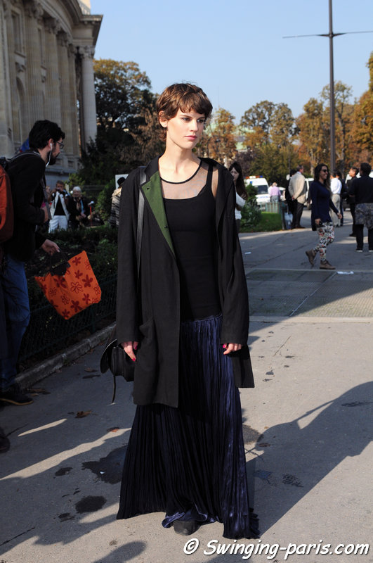 Saskia De Brauw leaving Chanel show, Paris S/S 2015 RtW Fashion Week, September 2014