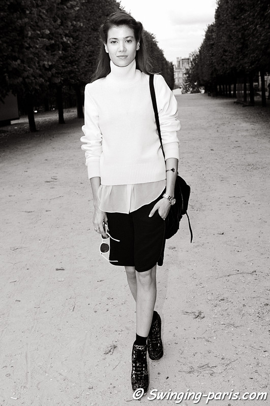 Sheila Marquez after Shiatzy Chen show, Paris S/S 2012 Fashion Week, October 2011