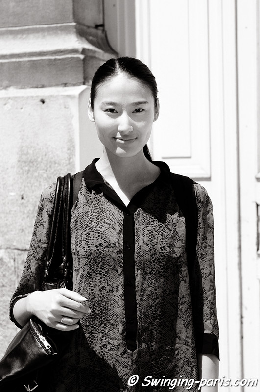 Shiqing Wang () outside Maison Rabih Kayrouz show, Paris Haute Couture F/W Fashion Week, July 2011