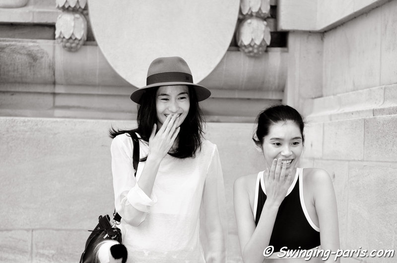 "Mengyao ""Ming"" Xi (right) and Shu Pei Qin leaving Chanel show, Paris Haute Couture F/W 2014 Fashion Week, July 2014"