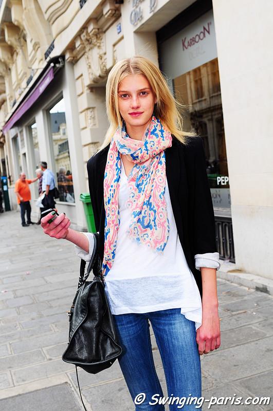 Sigrid Agren after Jean Paul Gaultier Couture show, Paris Haute Couture F/W Fashion Week, July 2011