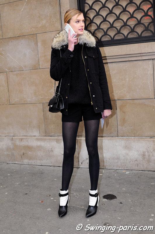 Sigrid Agren leaving Elie Saab show, Paris Haute Couture S/S 2013 Fashion Week, January 2013