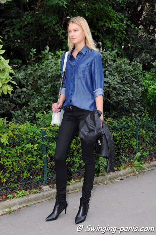 Sigrid Agren leaving Chanel show, Paris S/S 2014 RtW Fashion Week, October 2013