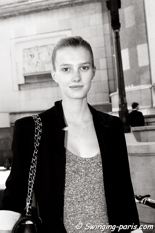 Sigrid Agren outside Giorgio Armani Priv show, Paris Haute Couture F/W Fashion Week, July 2011