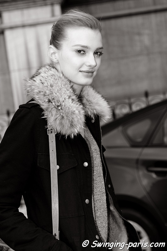 Sigrid Agren leaving Stella McCartney show, Paris F/W RtW 2012 Fashion Week, March 2012
