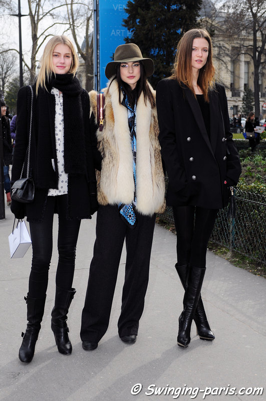 Sigrid Agren (left), Jacquelyn Jablonski (center) and Kasia Struss leaving Chanel show, Paris F/W 2013 RtW Fashion Week, March 2013