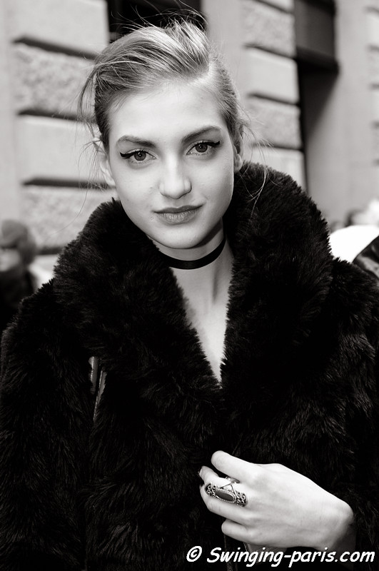 Simona Andrejic after Chanel show, Paris Fashion Week Spring 2011 Couture
