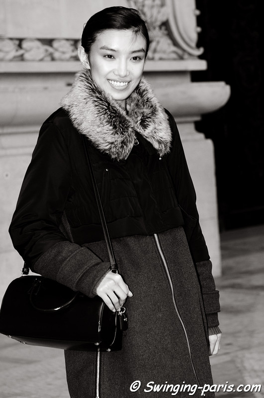 Sissi Hou (Meng Die Hou) leaving Léonard show, Paris F/W RtW 2012 Fashion Week, March 2012